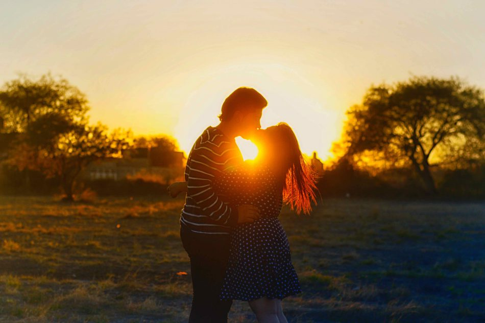 Romantic sunset proposal