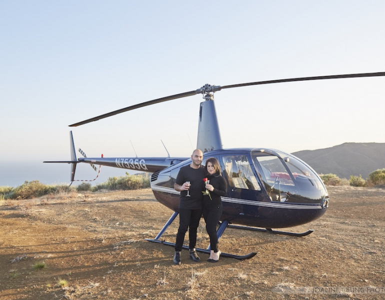 Los Angeles Helicopter Picnic Proposal Creative Romantic